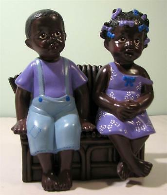 Black Americana BOY & GIRL Hand Painted Porcelain Figurines / Sofa - Couch