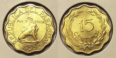 """1953 Paraguay 15 Centimos """"uncirculated"""" Coin"""