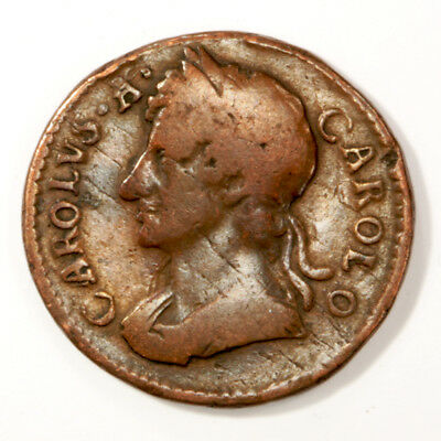 1675 Great Britain Charles II Farthing in Fine Condition. KM# 436.1.