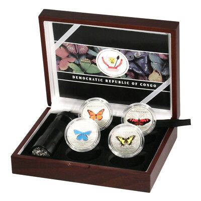 2014 Democratic Republic of Congo Magnificent Butterflies 4 coin set