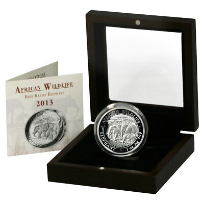 2013 Somalia Elephant 100 Shilling 1oz High-relief Proof Silver Coin