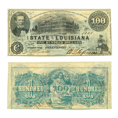 Obsolete Banknote State of Louisiana $100 1863 Criswell 11 Very Fine Rarity 7