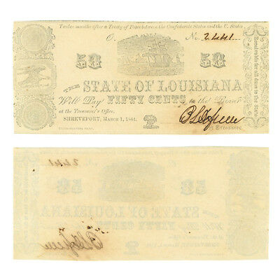 Obsolete Banknote State of Louisiana 50 Cents 1864 Criswell 20 Crisp Unc