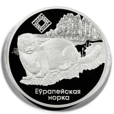 Belarus European Mink 20 Roubles 2006  Proof Silver Crown KM147