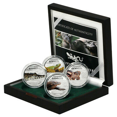 DRC Magnificent Reptiles 4 30 Francs Proof Silver Coins 2013 Wood Case COA