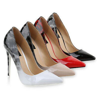 Damen Spitze Pumps High Heels Stilettos Lack Prints Party 818280 Schuhe