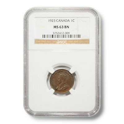 1923 Canada George V 1¢ MS-63-BN NGC Encapsulated Copper Coin