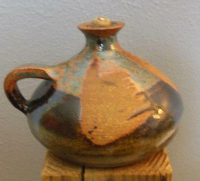 "Vintage Studio Pottery Oil Lamp Unused Wick 5 x 4"" Signed"