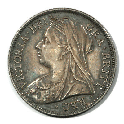 Great Britain Mature Draped Victoria - Brock Half Crown 1894 Toned Unc KM782