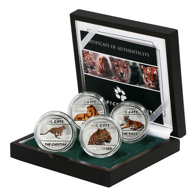DRC Magnificent Big Cats 30 Francs 2011 4 Colored Proof Silver Crowns Wood Case
