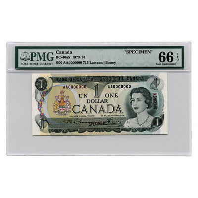 Bank of Canada SPECIMEN Lawson/Bouey $1 1973 BC-46aS PMG 66 EPQ Gem Unc