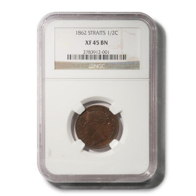 Straits Settlements British India VICTORIA HALF CENT INDIA STRAITS 1862 KM-5 NGC