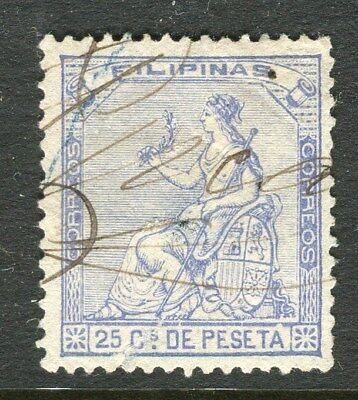 PHILIPPINES;  1874 early classic Peace issue used 25c. value