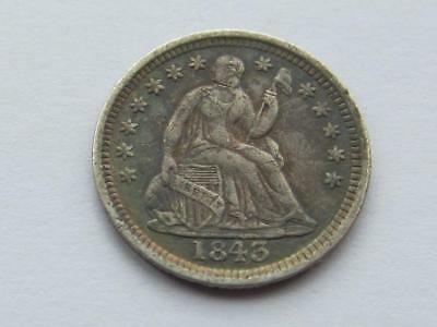 USA Seated Liberty Half Dime dated 1843 - Great lightly worn collectable Coin