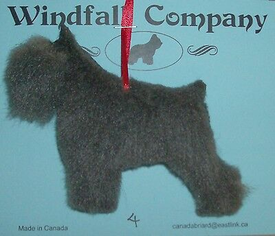 Grey Crop Ear Bouvier des Flandres Dog Plush Christmas Canine Ornament #4 by WC