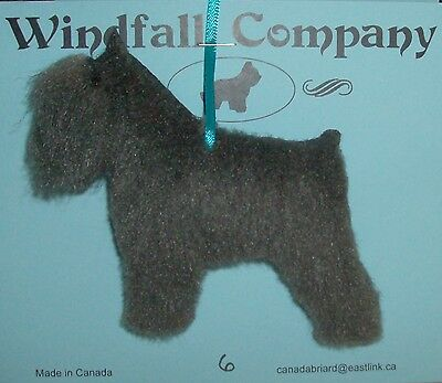 Grey Crop Ear Bouvier des Flandres Dog Plush Christmas Canine Ornament # 6 by WC
