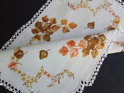 Beautiful Hand Embroidered Vintage Centre - A Touch of Autumn - Crocheted Edging