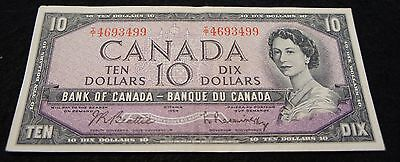 1954 Ottawa Bank of Canada 10 Dollar Note in VF Condition Nice OLD Note!