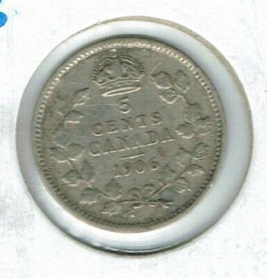 1906 Canadian Circulated  Edward VII Silver Five Cent Coin!
