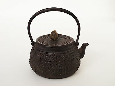 Antique Japanese Iron TEA KETTLE Teapot Tetsubin Signed