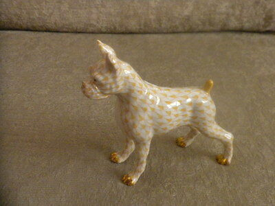 genuine Herend Standing Boxer Dog w 24k gold trim, #15565/SVH3H Made in Hungary