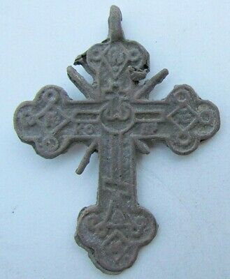 RUSSIAN 17th - 18th CENTURY ANTIQUE BRASS NECK CROSS icon