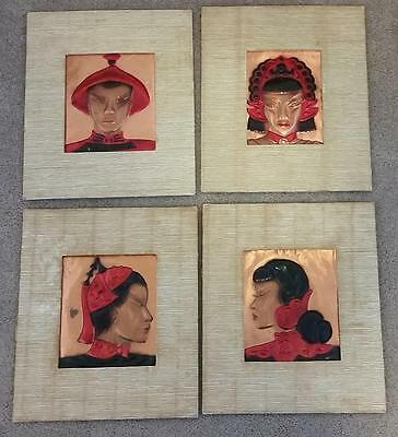 4 Vintage 1948 Asian Heads Wall Art Deco Tooled Copper Relief Wanda Irwin
