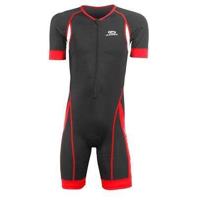 Aropec Mens Panther Short Sleeve Lycra Triathlon Duathlon Cycling Suit Black/Red