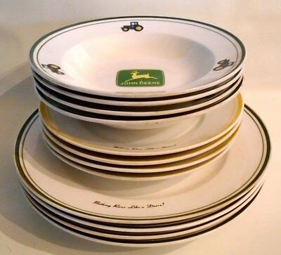 12 pc JOHN DEERE TRACTOR DINNERWARE MILK GLASS PLATES & BOWLS VINTAGE GIBSON