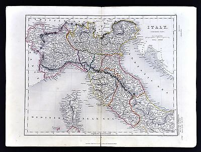 c. 1849 Archer Map - North Italy Rome Florence Venice Milan Siena Vatican State