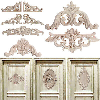 Wood Onlay Applique Wooden Woodcarving Decal Furniture Carving Home Door Decor
