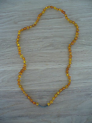 Fabulous - Vintage Amber Necklace With Silver Detail -   Excellent Condition