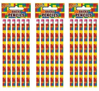 24 Lego Bricks Eraser pencils,.party bag toys,loot bag fillers,favours,rewards