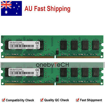 AU 4GB KIT 2X2GB PC2-6400U PC6400 DDR2-800Mhz 240PIN UDIMM Desktop Memory Module