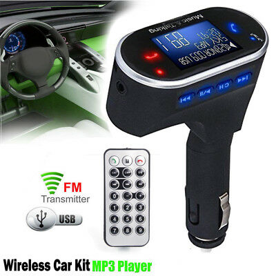 Bluetooth Car FM Transmitter Wireless Radio Adapter USB Charger Mp3 Player LCD