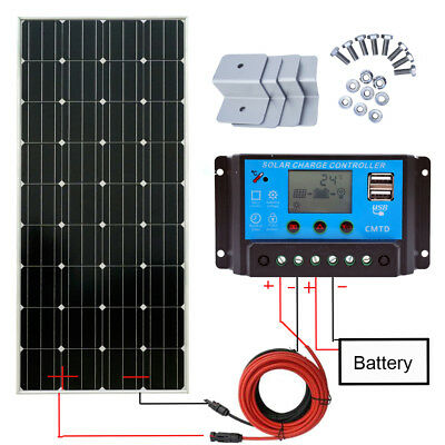 150W 12V Solar Panel Kit Mono Module + 20A LCD USD Charging Controller RV Camper