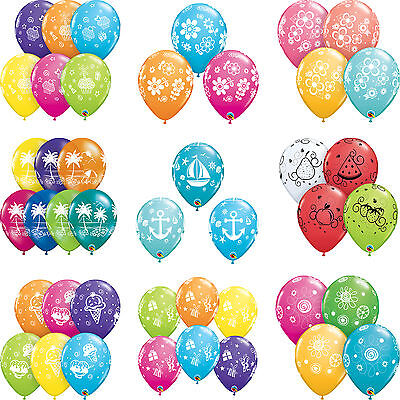 "6 x 11"" Flower, Ice Cream, Presents, Sailboat Printed Qualatex Latex Balloons"