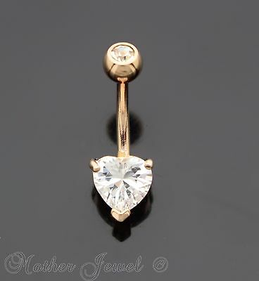 7Mm Heart Double Simulated Diamond 14K Rose Gold Triple Plate Belly Navel Ring
