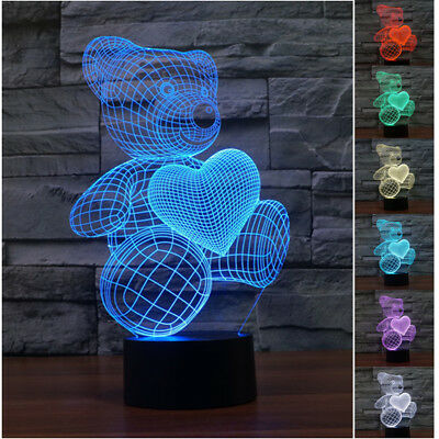 3D Bear Love Heart  7 Color Change Night Touch Switch LED Desk Table Light Lamp