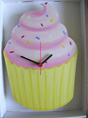 Pink Icing Cupcake Wall Clock. New And Boxed. Cup Cake