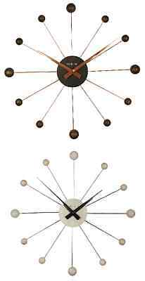 Large Wood & Chrome Retro Sunburst / Spider Wall Clock.new. 2 Colours Available