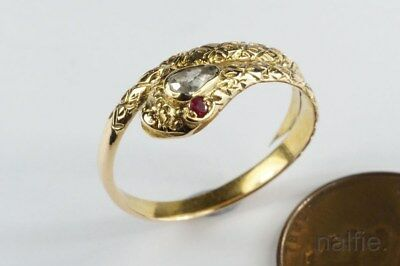 ANTIQUE GEORGIAN 15K GOLD PEAR SHAPED DIAMOND & RUBY COILED SNAKE RING c1820