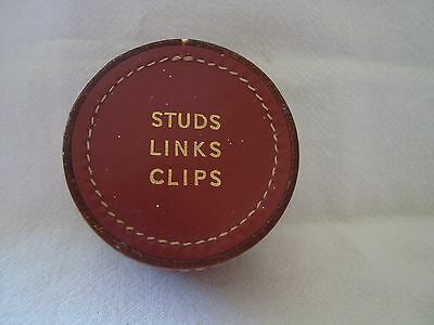 Vintage Leather Stud Links Clips Case / Box contains links, tie pin