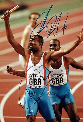 Kriss AKABUSI & Derek REDMOND SIGNED Autograph 12x8 Photo 2 AFTAL COA Athletics