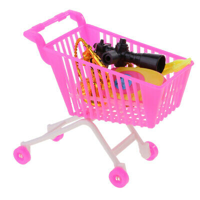 5pc Pink Plastic Supermarket Cart Trolley Set for Doll Kelly Shopping
