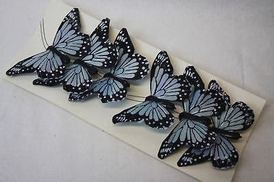 Real Feather Clip on Butterflies -Light Blue x 6 - Wedding Party Home Craft