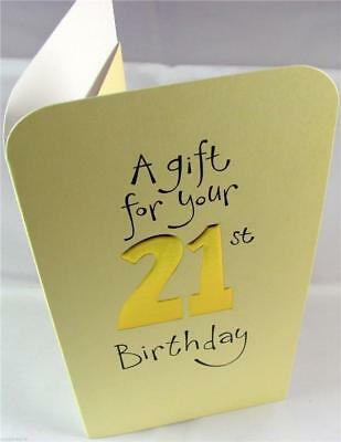 21st Birthday Cream Embossed Gold Money Wallet Gift Card Voucher With Envelope