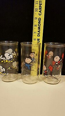 Charlie Brown, Lucy & Snoopy Peanuts Drink Glasses, Set of 3 1950's - 1960's