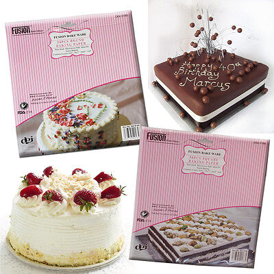 Grease Proof Baking Paper Cake Tin Liners Square Round Oven Non Stick 50 Sheets