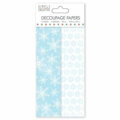 Frosted Snowflake Deco Mache x 4 Tissue Patch Paper Sheet Simply Creative Xmas
